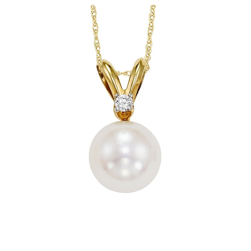 Gemsone Cultured Pearl & Diamond Pendant 6.5 mm
