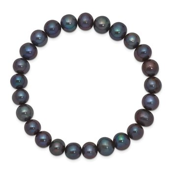8-9mm Freshwater Cultured Black Pearl Stretch Bracelet