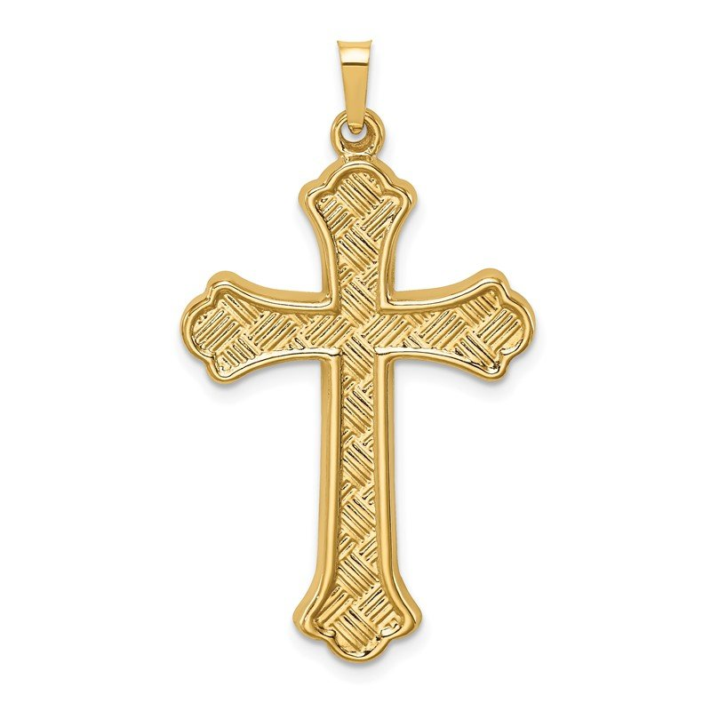 Quality Gold 14k Hollow Polished Woven Fleur de Lis Cross