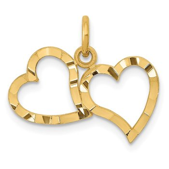 14K Polished Double Heart Pendant