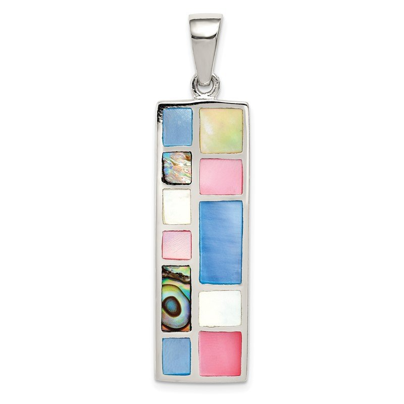 Quality Gold Sterling Silver Multi-colored Mother of Pearl Pendant