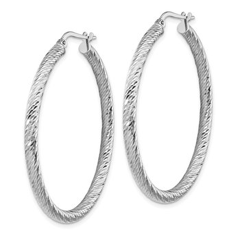 14k 3x35mm White Gold Diamond-cut Round Hoop Earrings