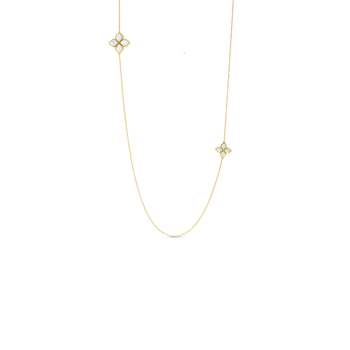 18KT MOTHER-OF-PEARL & DIAMOND LONG STATION NECKLACE