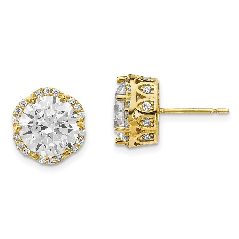 Quality Gold 10K Tiara Collection Polished CZ Post Earrings