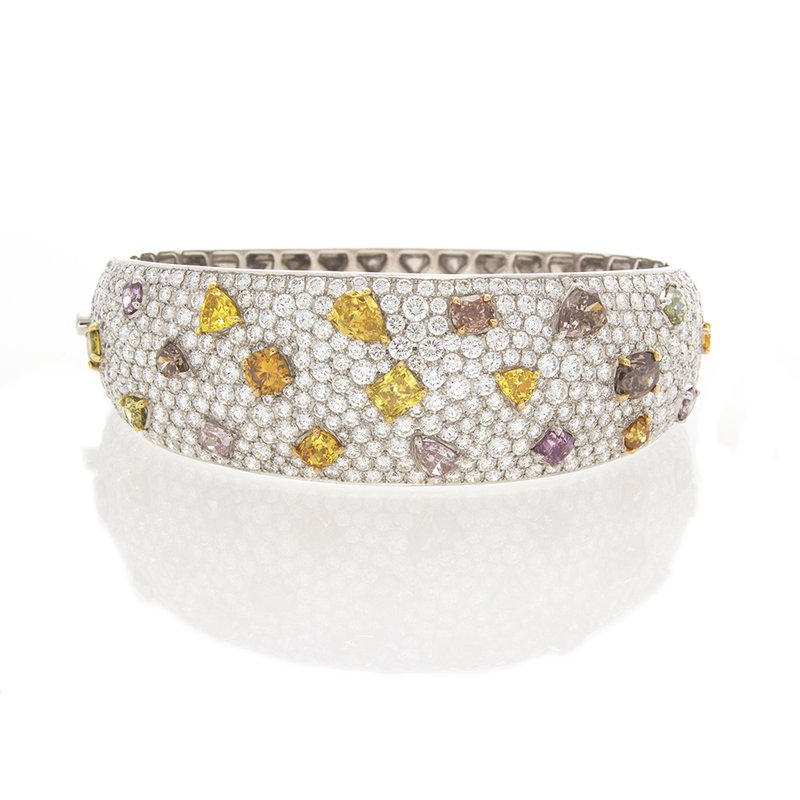 C&R Diamonds FANCY SHAPES & COLORS DIAMOND BANGLE