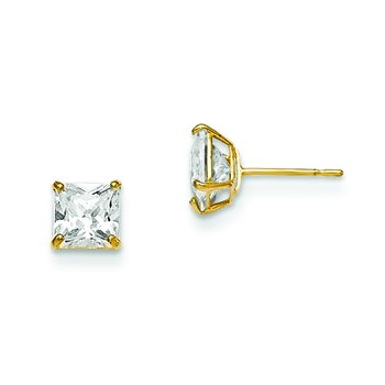 14k Madi K 5mm Square CZ Basket Set Stud Earrings