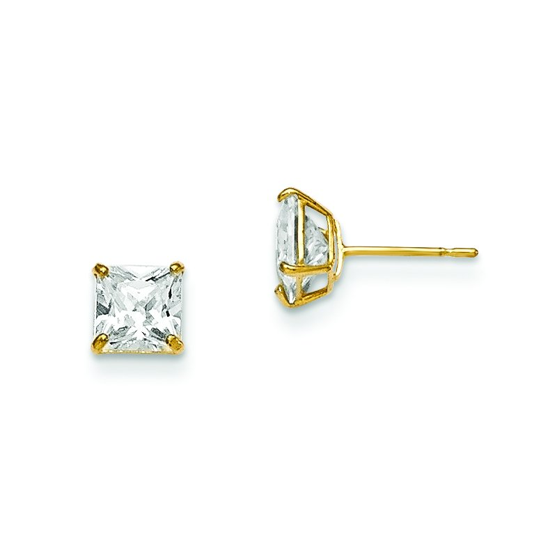 Quality Gold 14k Madi K 5mm Square CZ Basket Set Stud Earrings