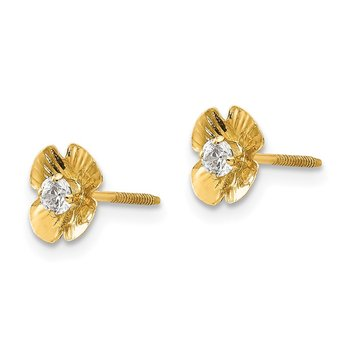 14k Madi K Flower 2.5mm CZ Post Earrings