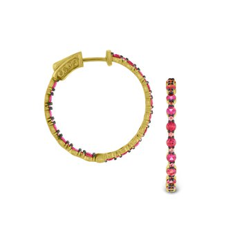 Pink Sapphire Hoop Earrings Set in 14 Kt. Gold