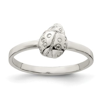 Sterling Silver RH Plated Child's Polished Ladybug Ring