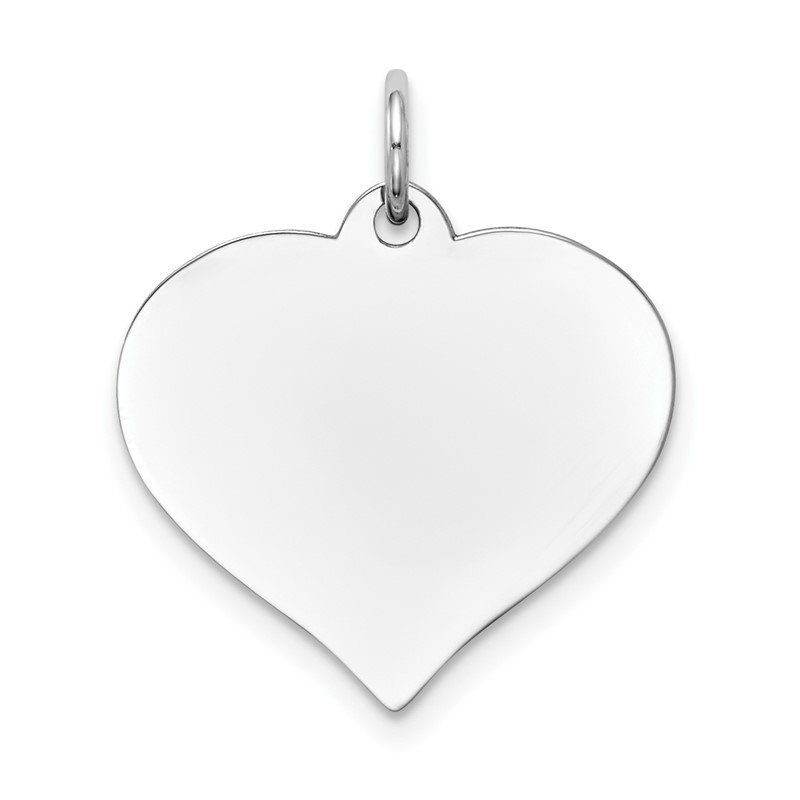 Quality Gold 14K White Gold Heart Disc Charm
