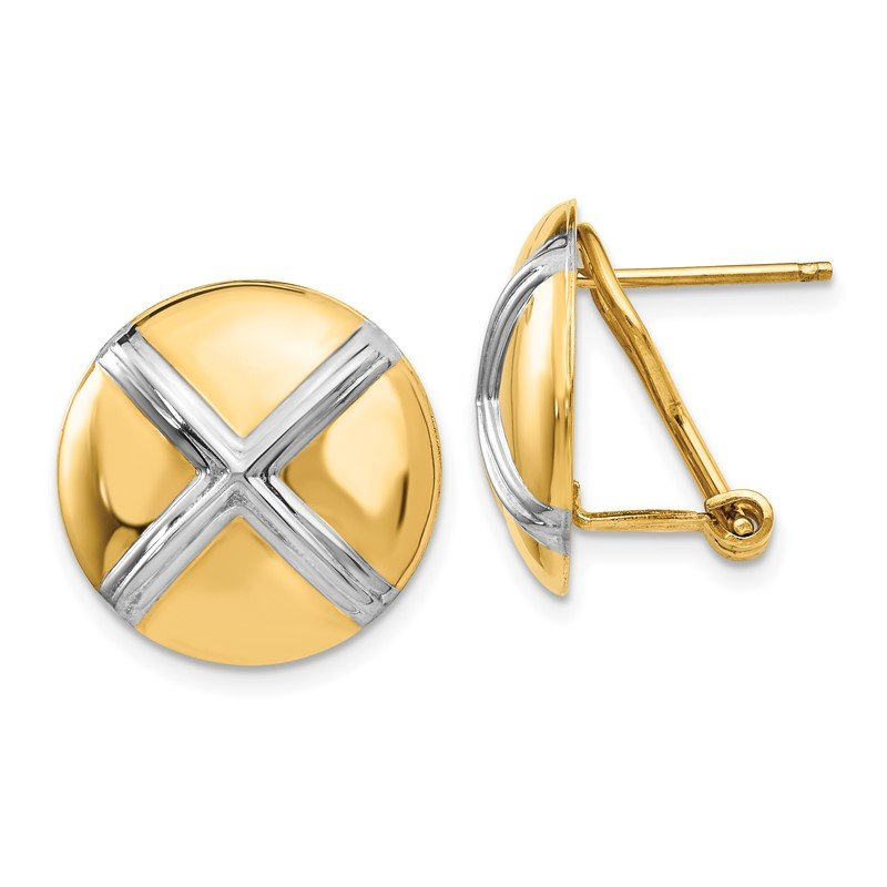 Quality Gold 14k Polished & Rhodium X Omega Back Post Earrings