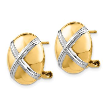 14k Polished & Rhodium X Omega Back Post Earrings