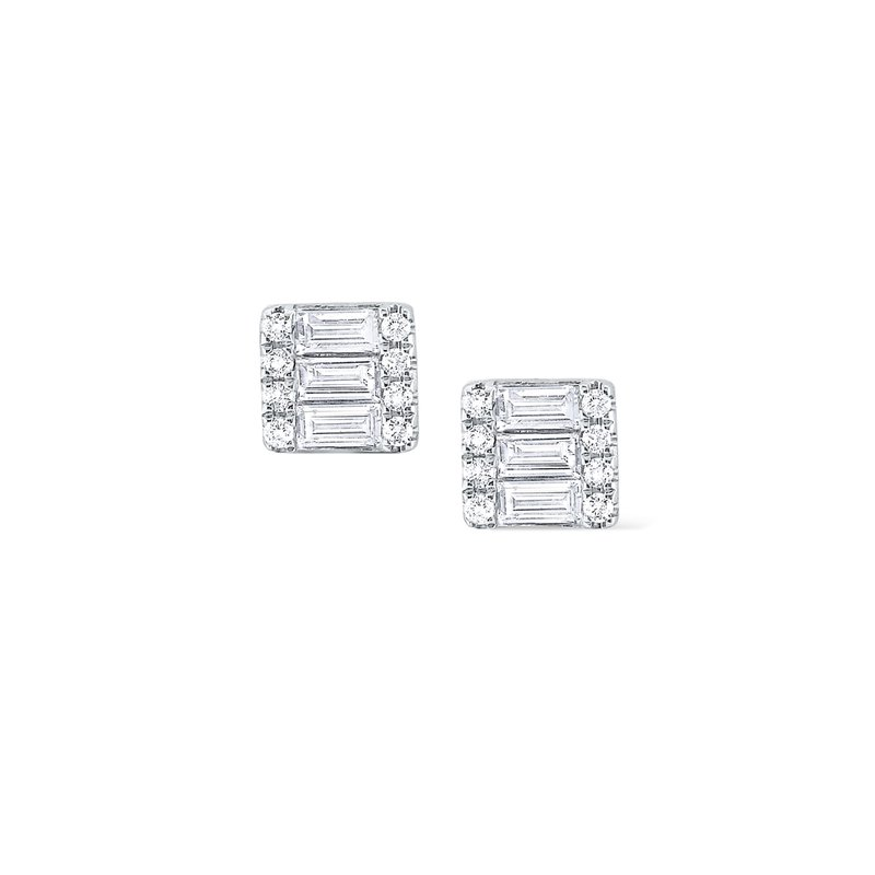 KC Designs Diamond Square Mosaic Stud Earrings Set in 14 Kt. Gold
