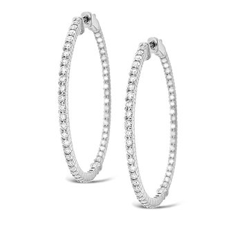 Diamond Inside Outside Hoop Earrings in 14k White Gold with 100 Diamonds weighing 2.91ct tw.