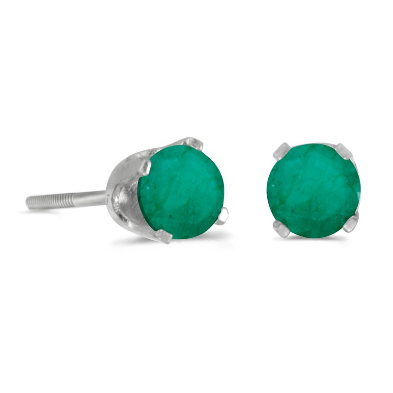 Color Merchants 14k White Gold 4mm Round Emerald Screw-back Stud Earrings