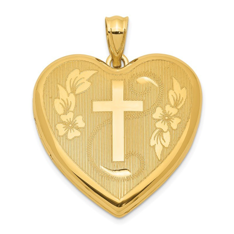 Quality Gold Sterling Silver Gold-tone Cross and Flowers Ash Holder Heart Locket