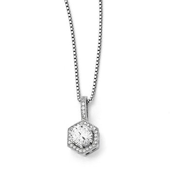 SS Rhodium-Plated CZ Brilliant Embers Hexagon Necklace
