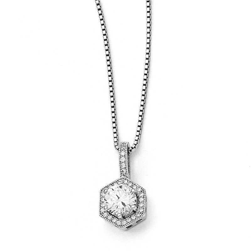 Quality Gold Sterling Silver Brilliant Embers Rhodium-plated CZ Hexagon Necklace