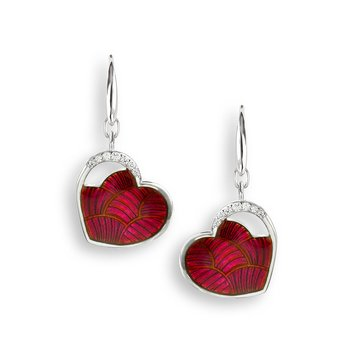 Red Heart Wire Earrings.Sterling Silver-White Sapphires
