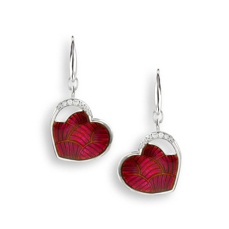 Nicole Barr Designs Red Heart Wire Earrings.Sterling Silver-White Sapphires