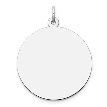 14k White Gold Plain .035 Gauge Round Engravable Disc Charm