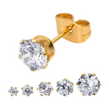 Gold Plated Steel with Clear CZ Stud Earrings (Unisex)