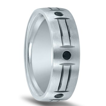 Men's Wedding Band ND01989 with Round Black Diamonds