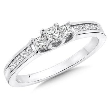 Princess Cut Diamond 3-Stone 14k White Gold Engagment Ring With Pave set Shank (1/2 ct. tw.).