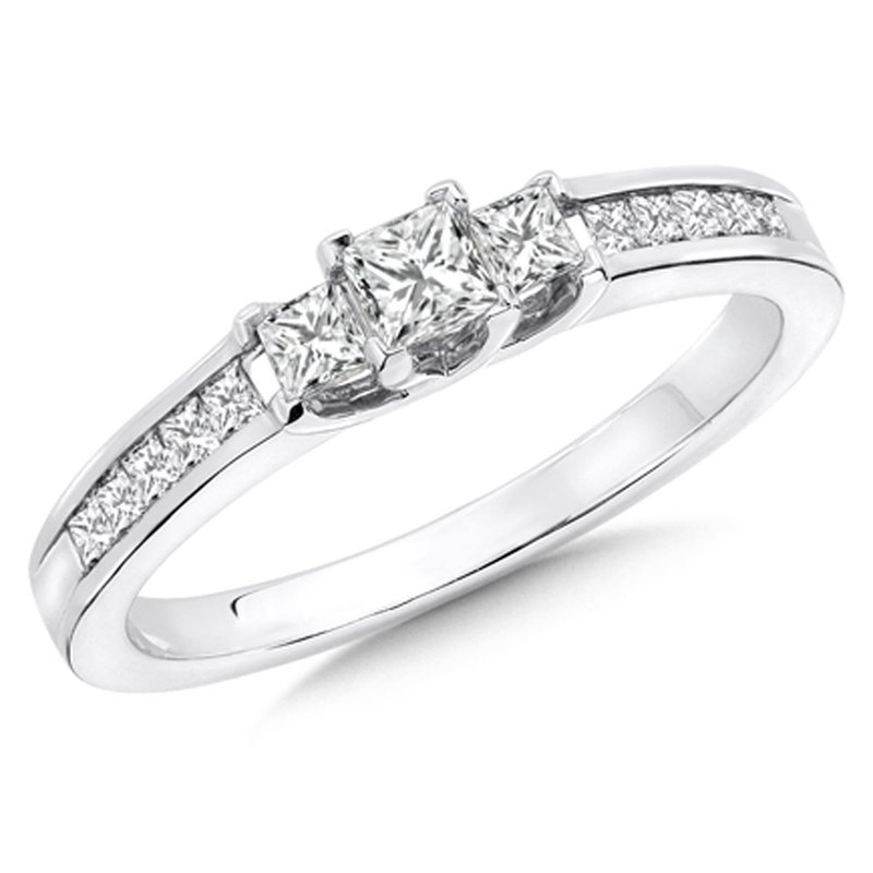 SDC Creations Princess Cut Diamond 3-Stone 14k White Gold Engagment Ring With Pave set Shank (1/2 ct. tw.).