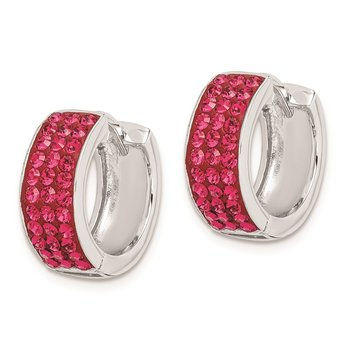 Sterling Silver RH-plated Red Preciosa Crystal Hinged Hoop Earrings