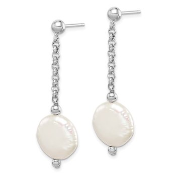 Sterling Silver Rhod-plated 12-13 Coin FWC Pearl Dangle Earrings