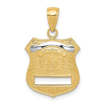 14k w/Rhodium Police Badge Pendant