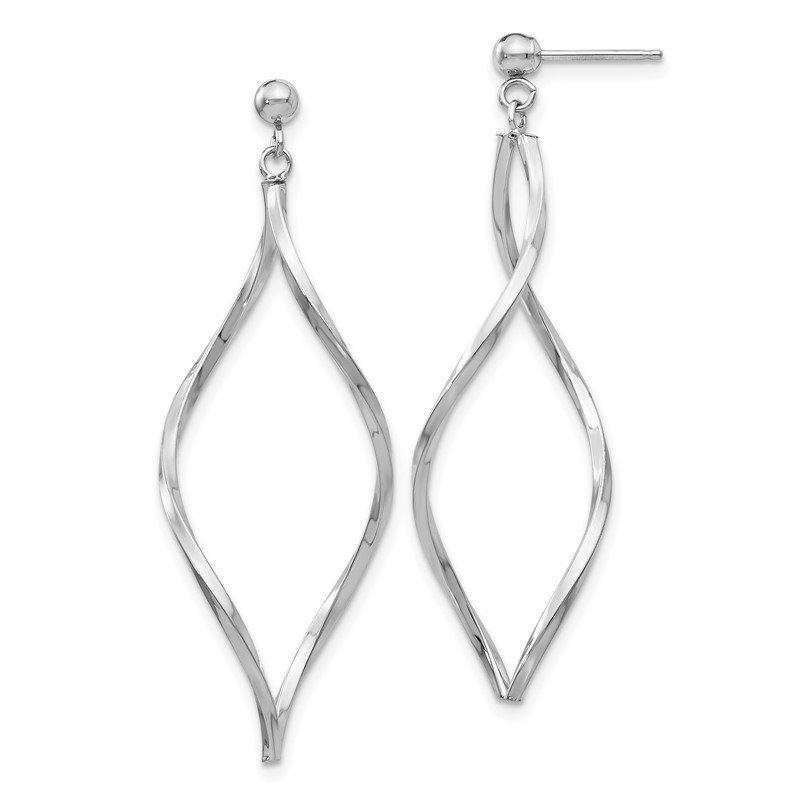 Quality Gold 14k White Gold Twisted Post Dangle Earrings