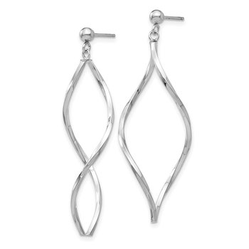 14k White Gold Twisted Post Dangle Earrings