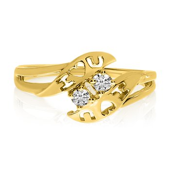 14K Yellow Gold I Love You Two-Stone Diamond Ring