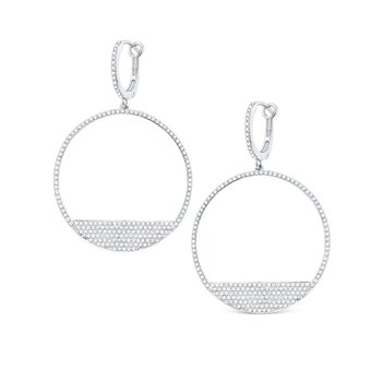 14K Diamond Modern Circle Earrings