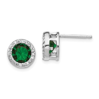 Cheryl M SS Rhod Plated Green Glass Simulated Emerald & CZ Post Earrings