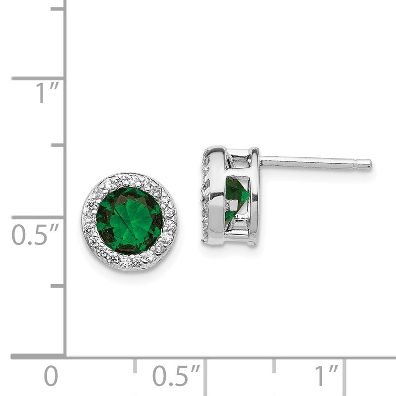 Cheryl M Cheryl M SS Rhod Plated Green Glass Simulated Emerald & CZ Post Earrings