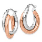 Quality Gold 14k Rose and White Gold Polished Oval Hoop Earrings
