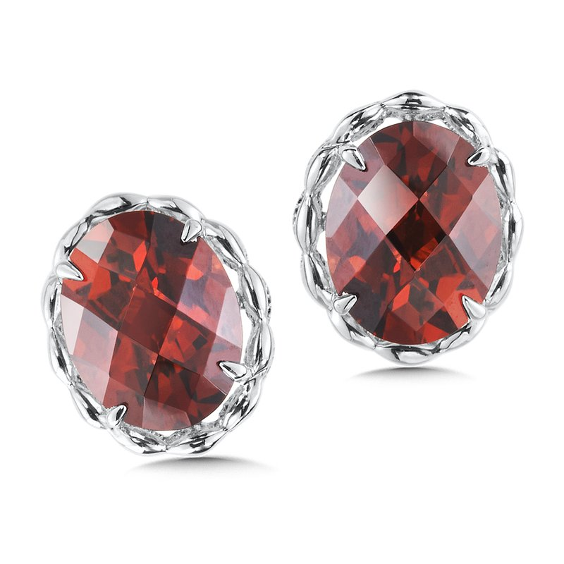 Colore SG Sterling Silver Garnet Stud Earrings