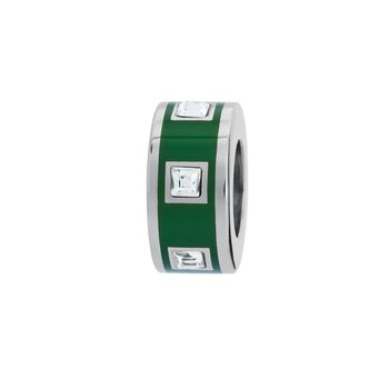 316L stainless steel, green enamel and Swarovski® Elements crystals