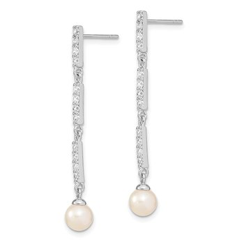 Sterling Silver Rhodium-plated 6-7mm Rice FWC Pearl CZ Post Dangle Earrings