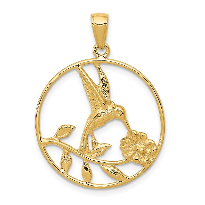 Quality Gold 14K Hummingbird in Round Frame Pendant