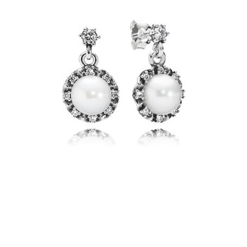 Everlasting Grace Drop Earrings, White Pearl & Clear CZ