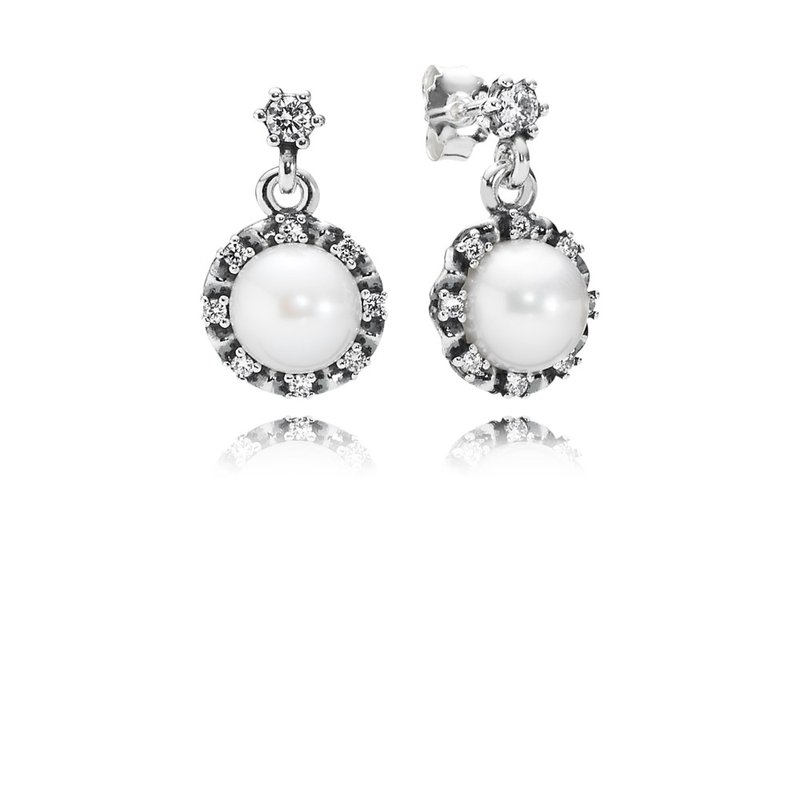 PANDORA Everlasting Grace Drop Earrings, White Pearl & Clear CZ