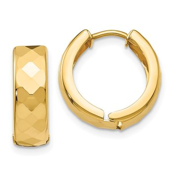 14k Textured Hinged Hoop Earrings