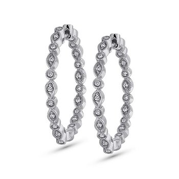 Diamond Inside Outside Hoop Earrings in 14k White Gold with 42 Diamonds weighing .34ct tw.