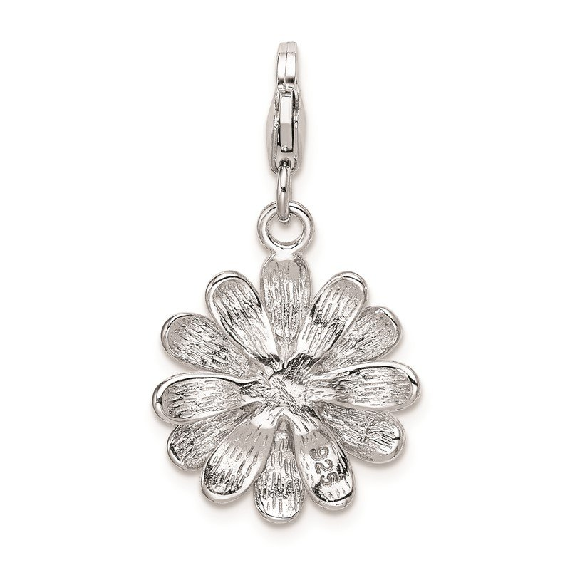Quality Gold Sterling Silver RH Enameled Flower w/Lobster Clasp Charm