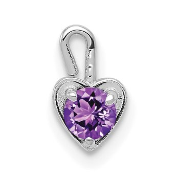 14k White Gold February Synthetic Birthstone Heart Charm